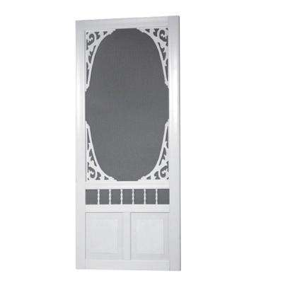 36 in. x 80 in. Georgian Solid Vinyl White Screen Door
