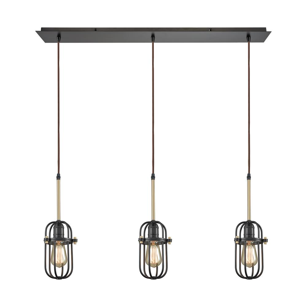 Binghamton 3-Light Linear Pan in Oil Rubbed Bronze and Satin Brass