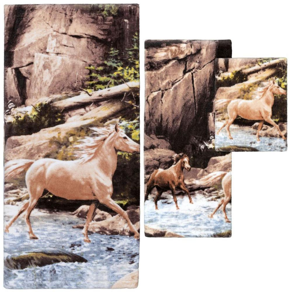 'Horse Canyon' 3-Piece 100% Cotton Decorative Towel Set