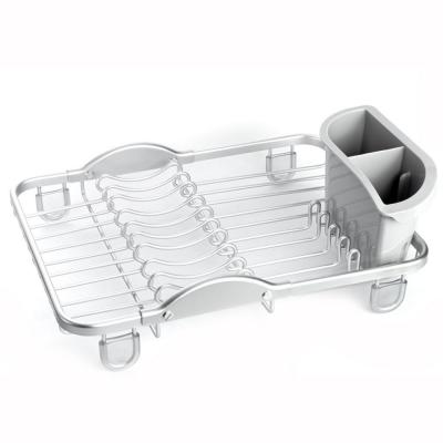 Sinkin Aluminum with Removable Cutlery Holder Counter Top Kitchen Silver Compact Dish Rack