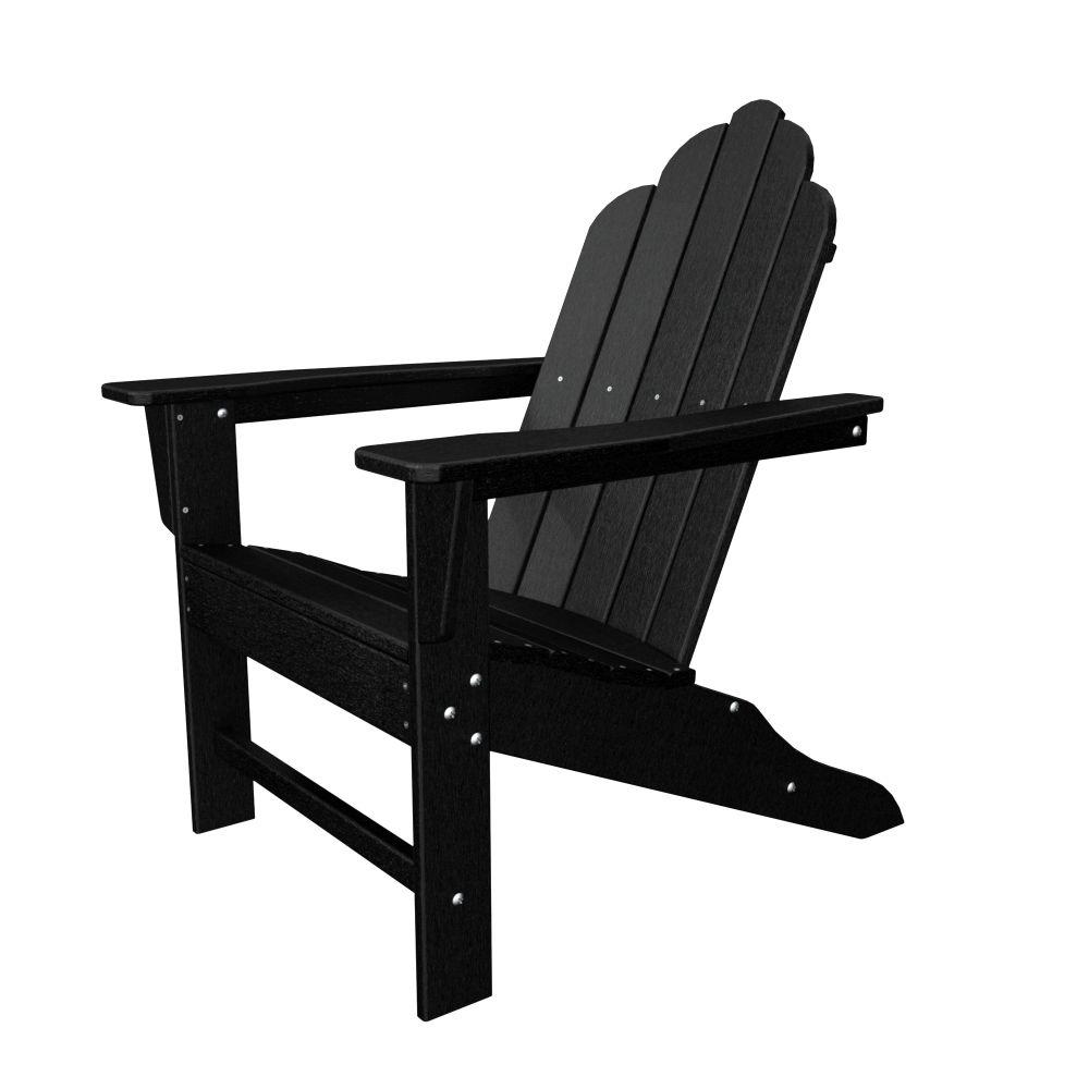 POLYWOOD Long Island Black Plastic Patio Adirondack Chair
