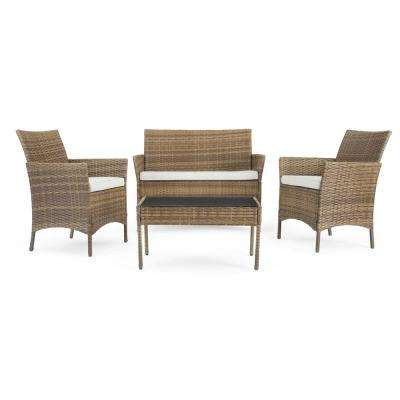 Kanab Brown 4-Piece Wicker Patio Conversation Set with Beige Cushions