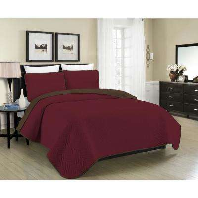 Reversible Austin 3-Piece Burgundy and Brown Full and Queen Quilt Set