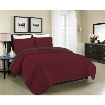 Allison Reversible 3-Piece Burgundy/Brown Full/Queen Quilt Set