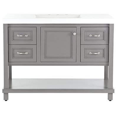 Everton 49 in. W x 19 in. D Bathroom Vanity in Taupe Gray with Cultured Marble Vanity Top in White with White Sink