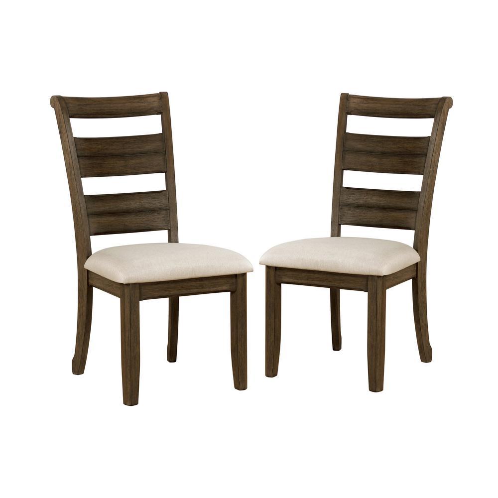 Jaxon Light Walnut and Beige Side Chairs (Set of 2)