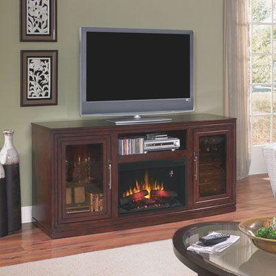 Chimney Free Salton 70 in. Triple Function Media Console Electric Fireplace in Empire Cherry-DISCONTINUED