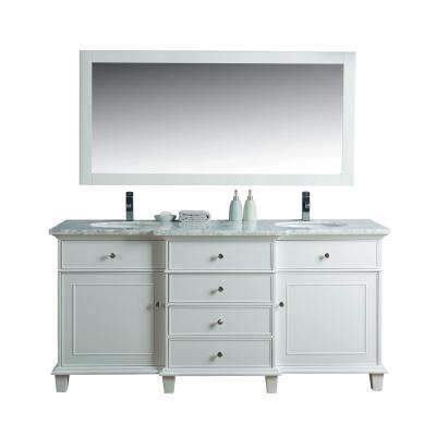 Cadence 72 in. W x 22 in. D Vanity in White with Marble Vanity Top in Carrara White, Basins and Mirror