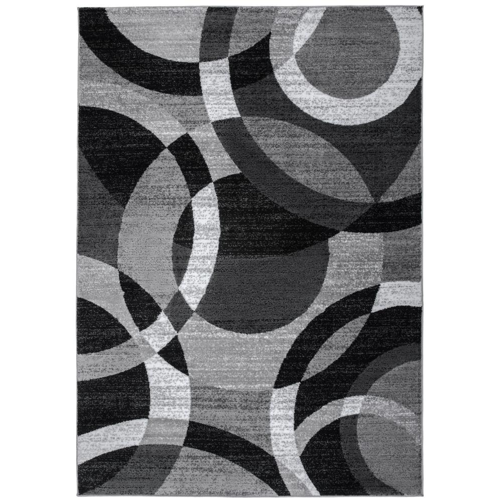 World Rug Gallery Modern Abstract Circles Gray 5 Ft 3 In X 7 Indoor Area