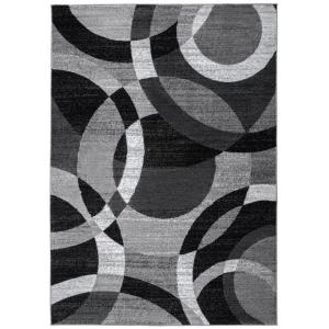 World Rug Gallery Modern Abstract Circles Gray 9 Ft X 12