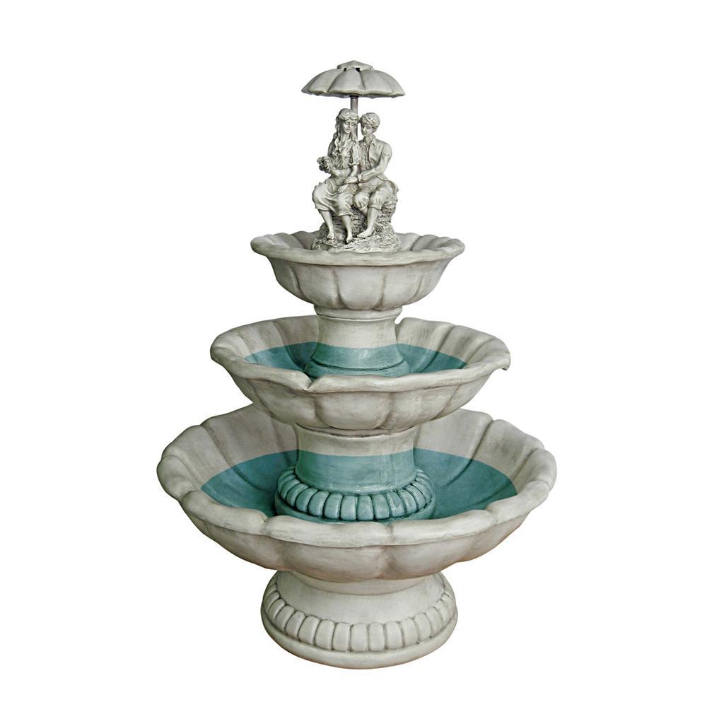 Lovers Under Umbrella Stone Bonded Resin Sculptural Fountain