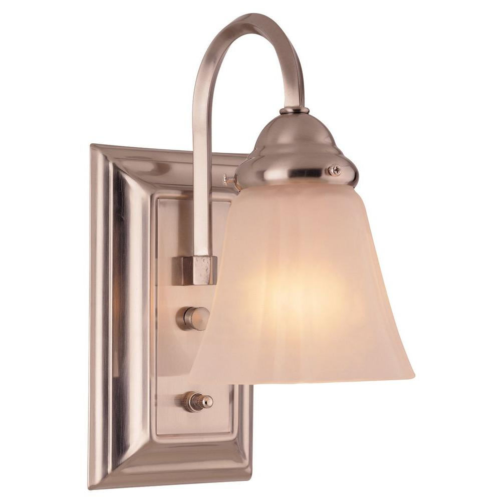 Hampton Bay 1-Light Brushed Nickel Wall Sconce-DISCONTINUED