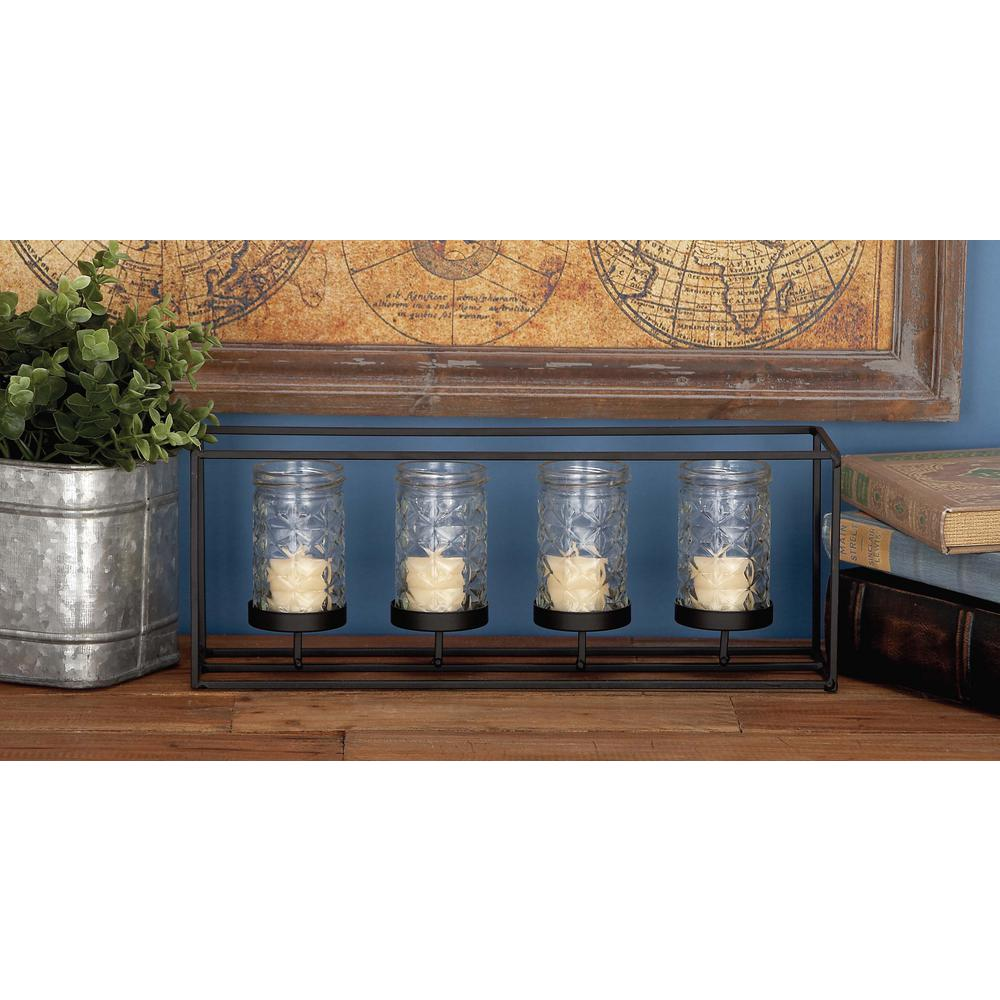 6 in. 4-Glass Black Metal Candle Holder