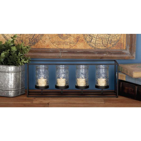 a6b26277bd Litton Lane 6 in. 4-Glass Black Metal Candle Holder 85013 - The Home ...