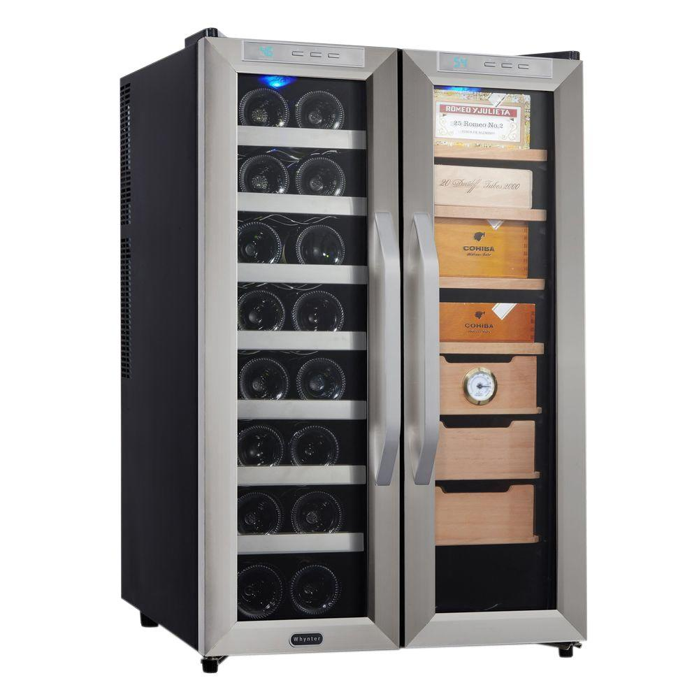 16 Bottle Wine Cooler And Cigar Humidor Center