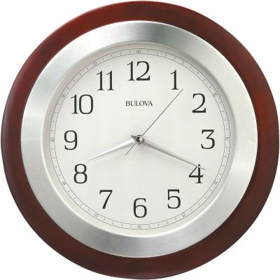 14 in. H x 14 in. W Round Wall Clock with Wood Case and Brushed Aluminum Bezel