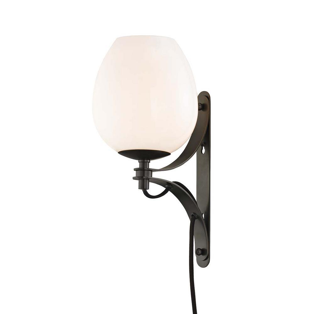 Lindsay 1-Light Old Bronze Wall Sconce with Plug