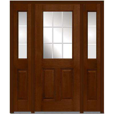 60 in. x 80 in. Internal Grilles Right-Hand 1/2-Lite Clear Stained Fiberglass Mahogany Prehung Front Door with Sidelites