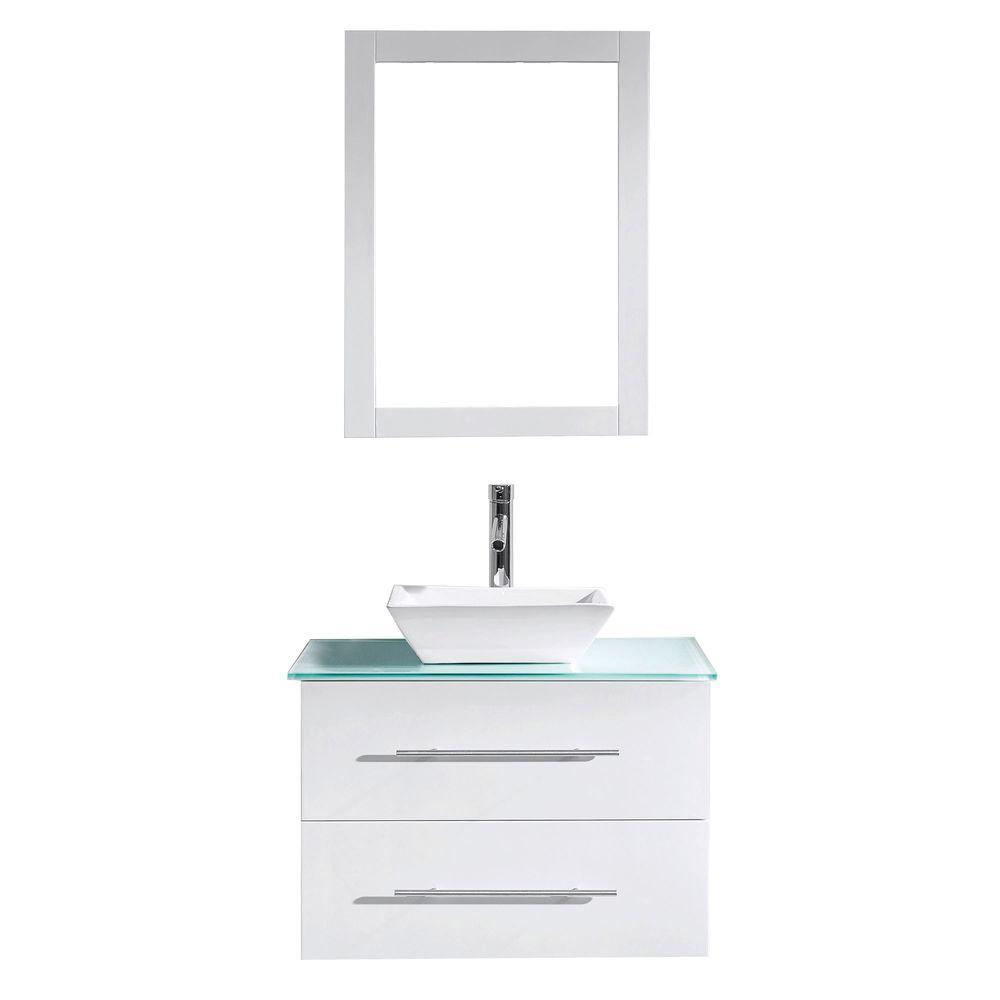 Virtu USA Marsala 30 in. W Bath Vanity in White with Glass Vanity Top in Aqua with Square Basin and Mirror and Faucet