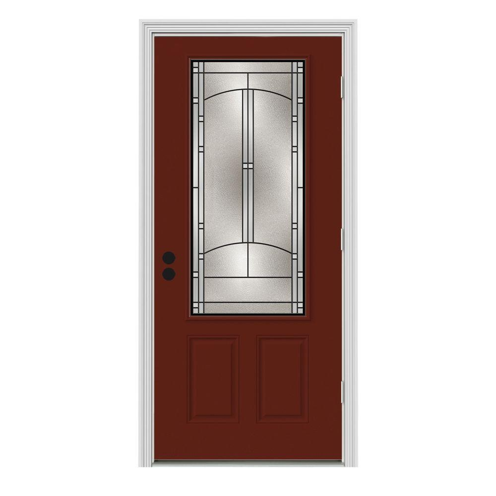 Jeld Wen 32 In X 80 In 3 4 Lite Idlewild Mesa Red W White Interior Steel Prehung Left Hand
