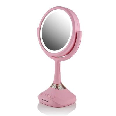 12.4 in. x 4.7 in. Modern Round Framed Pink Tabletop Vanity Mirror with Wireless Speaker, USB Port & 1x 5x Magnification
