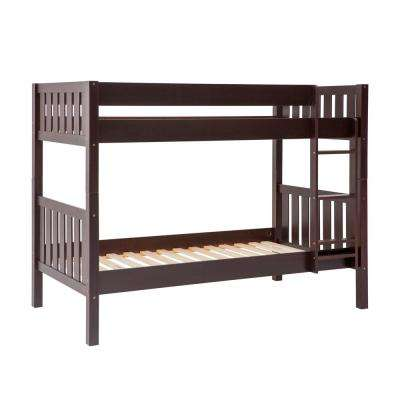 Espresso Solid Wood Cottage Slat Bunk Bed