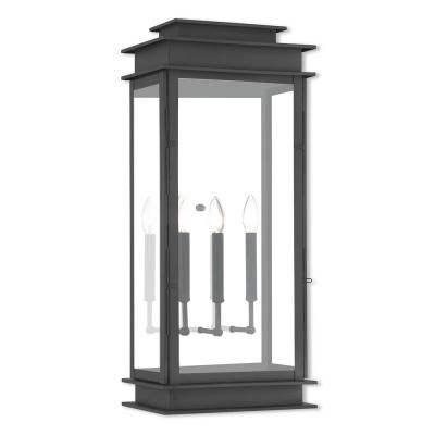 Princeton 3-Light Black Outdoor Wall Lantern Sconce