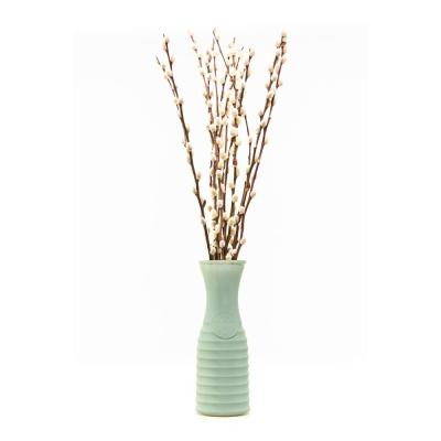 10 in. Willow Design Pussy Willow Assorted Mix Salix Caprea Plant with Green Vase