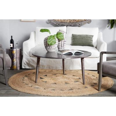 Litton Lane Mid-Century Round Metallic Silver and Bronze Coffee Table with Beaded Legs