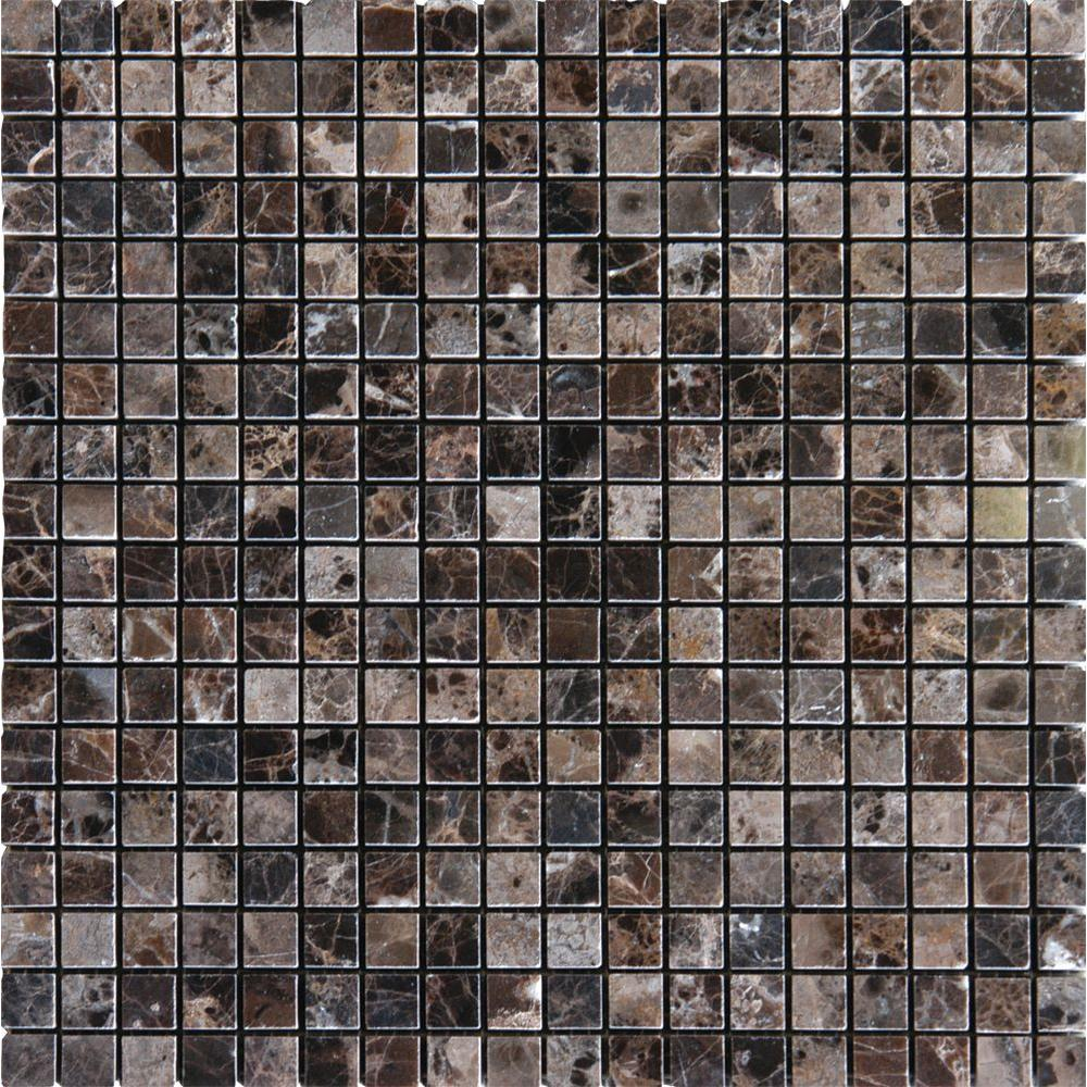 MS International Emperador Dark 12 in. x 12 in. x 10 mm Polished Marble Mesh-Mounted Mosaic Tile (10 sq. ft. / case)