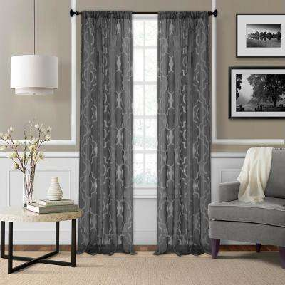 Montego Burnout Trellis Sheer Window Curtain