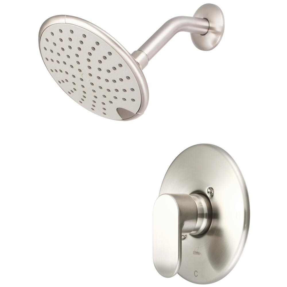 Olympia Faucets i1 1-Handle Wall Mount Shower Trim Kit in Brushed Nickel with Rain Showerhead (Valve Not Included)