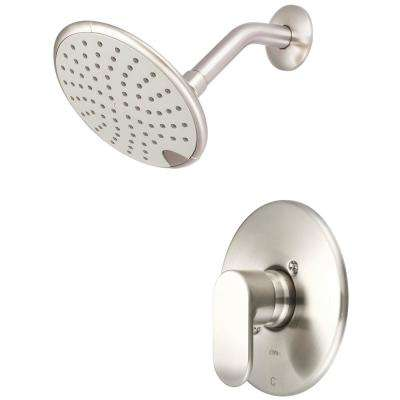 i1 1-Handle Wall Mount Shower Trim Kit in Brushed Nickel with Rain Showerhead (Valve Not Included)