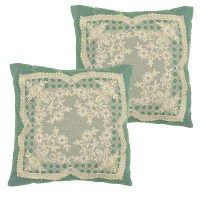 Caisey Teal Polyester Slip Covers (Set of 2)