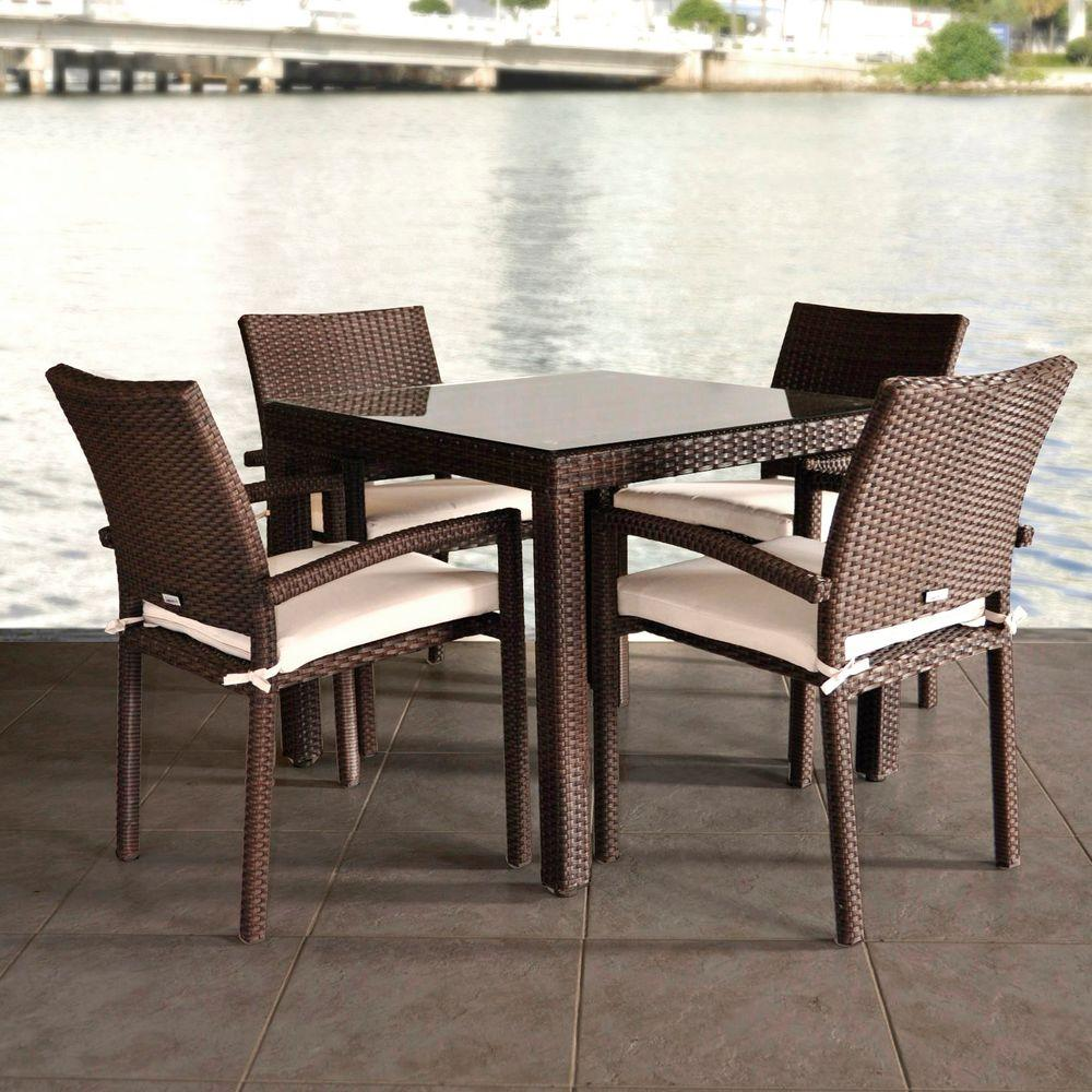 Atlantic Contemporary Lifestyle Liberty 5 Piece Patio Dining Set With Beige Cushions
