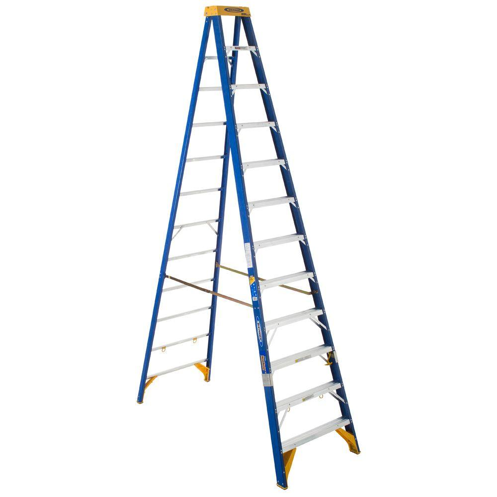 Werner 12 ft. Fiberglass Electricians JobStation Step Ladder with 375 lb. Load Capacity Type IAA Duty Rating