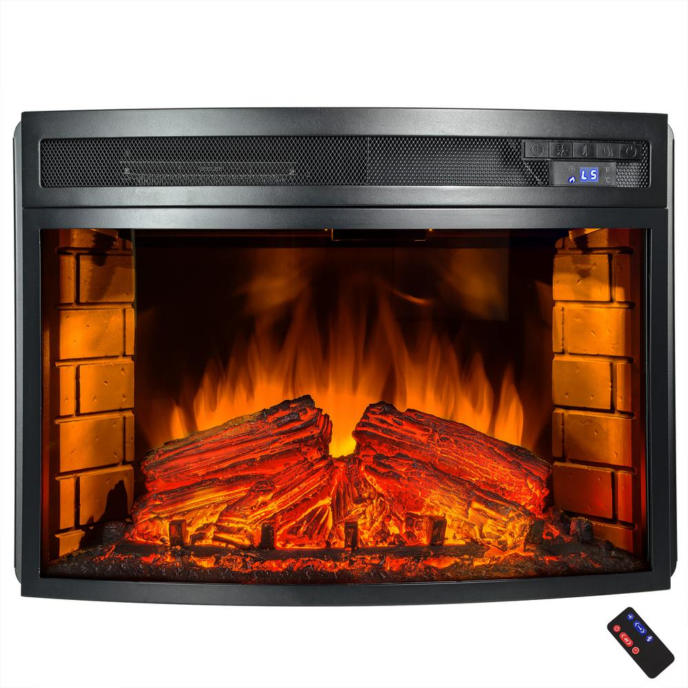 akdy 33 in freestanding electric fireplace insert heater in black