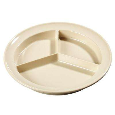 8.75 in. Diameter, 1.25 in. H Melamine Compartmented Plate in Tan (Case of 12)