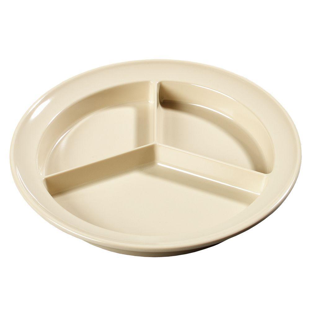 8.75 in. Diameter, 1.25 in. H Melamine Compartmented Plate in Tan (Case of 12)