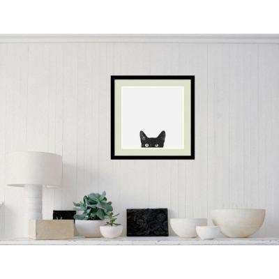 "20 in. W x 20 in. H ""Curiosity (Cat)"" by Jon Bertelli Framed Art Print"