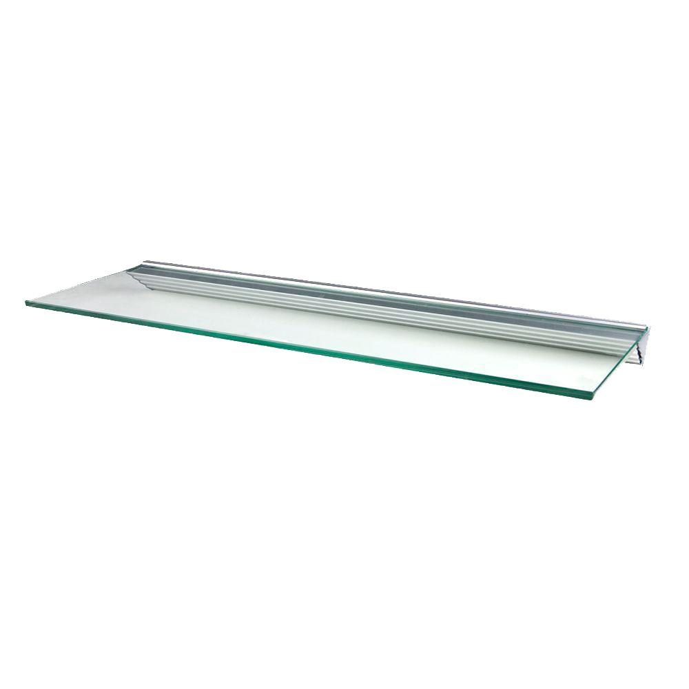 Wallscapes Glacier 48 in. W x 12 in. D Clear Glass Shelf with Silver ...