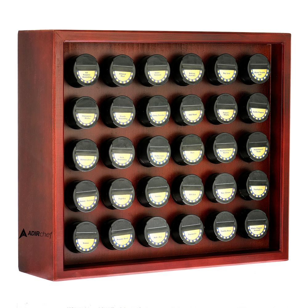30.4 oz. Jars Cherry Wood Spice Rack (31-Piece)
