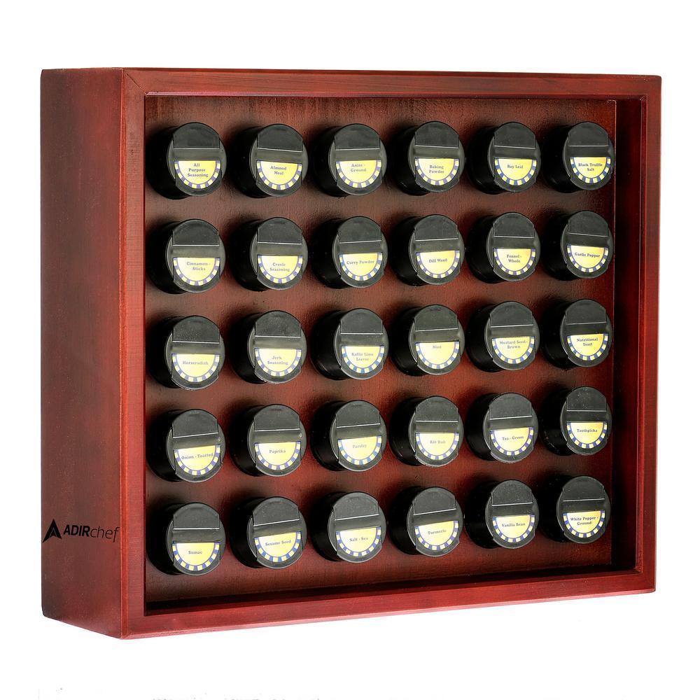 AdirHome 30.4 oz. Jars Cherry Wood Spice Rack (31-Piece) 801-30-CRY