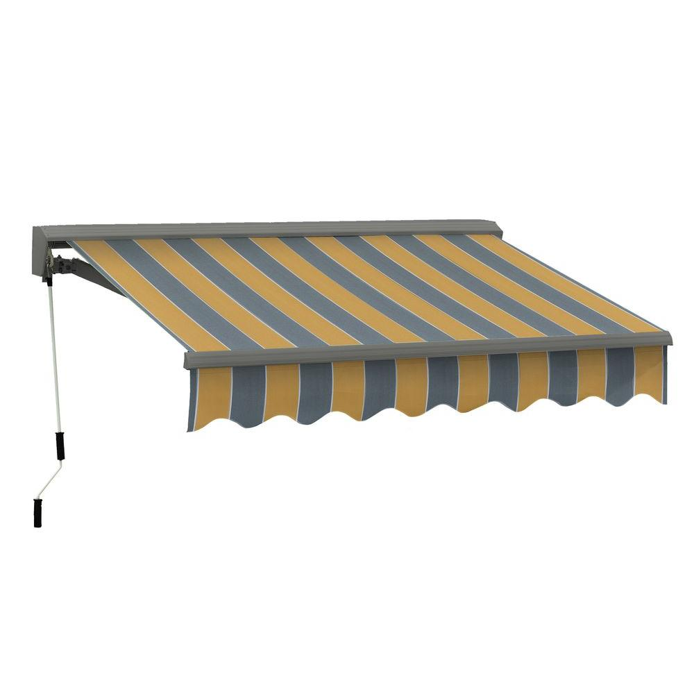 Advaning 8 Ft Classic C Series Semi Cassette Manual Retractable Awning 79 In Projection In Yellow Gray Stripes Ma0807 A225h The Home Depot