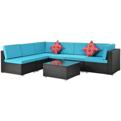 Boyel Living Black 7-Pieces Wicker Outdoor Patio Conversation Set w/ Coffee Table and Blue Cushions
