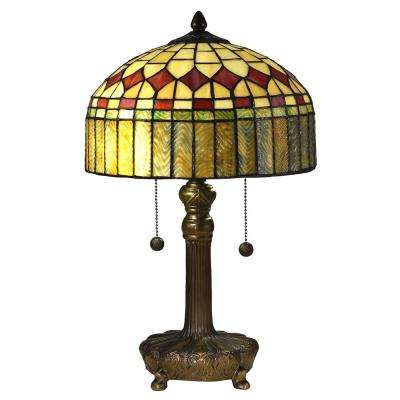 2-Light 20 in. Mayor Island Antique Bronze Table Lamp with Tiffany Art Glass Shade
