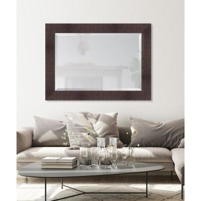Large Rectangle Walnut Beveled Glass Casual Mirror (44 in. H x 32 in. W)