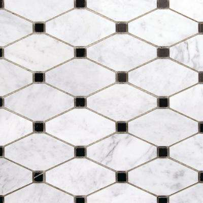 Diapson White Carrera with Black Dot 10 in. x 10 in. x 10 mm Polished Marble Mosaic Tile