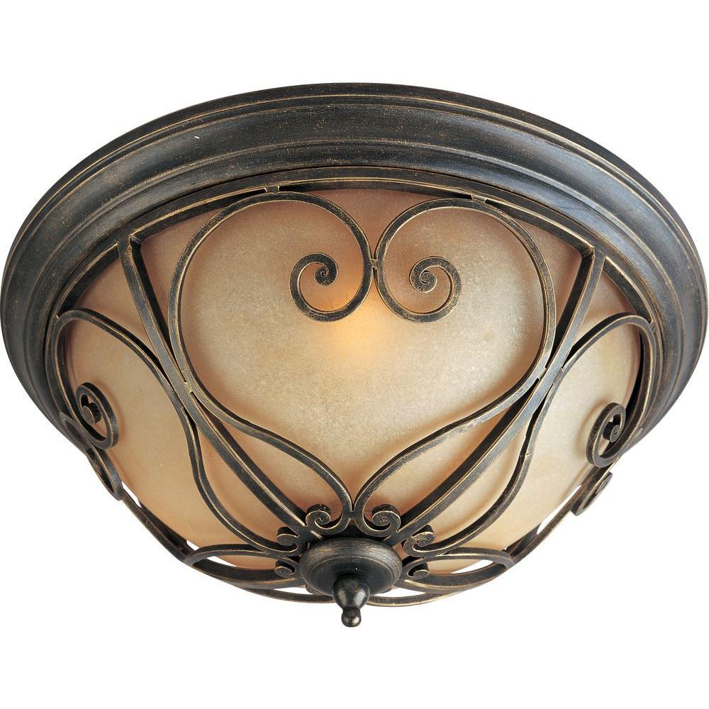 Illumine 2-Light 9 in. Flush Mount Mahogany Finish Wilshire Glass Shade-DISCONTINUED