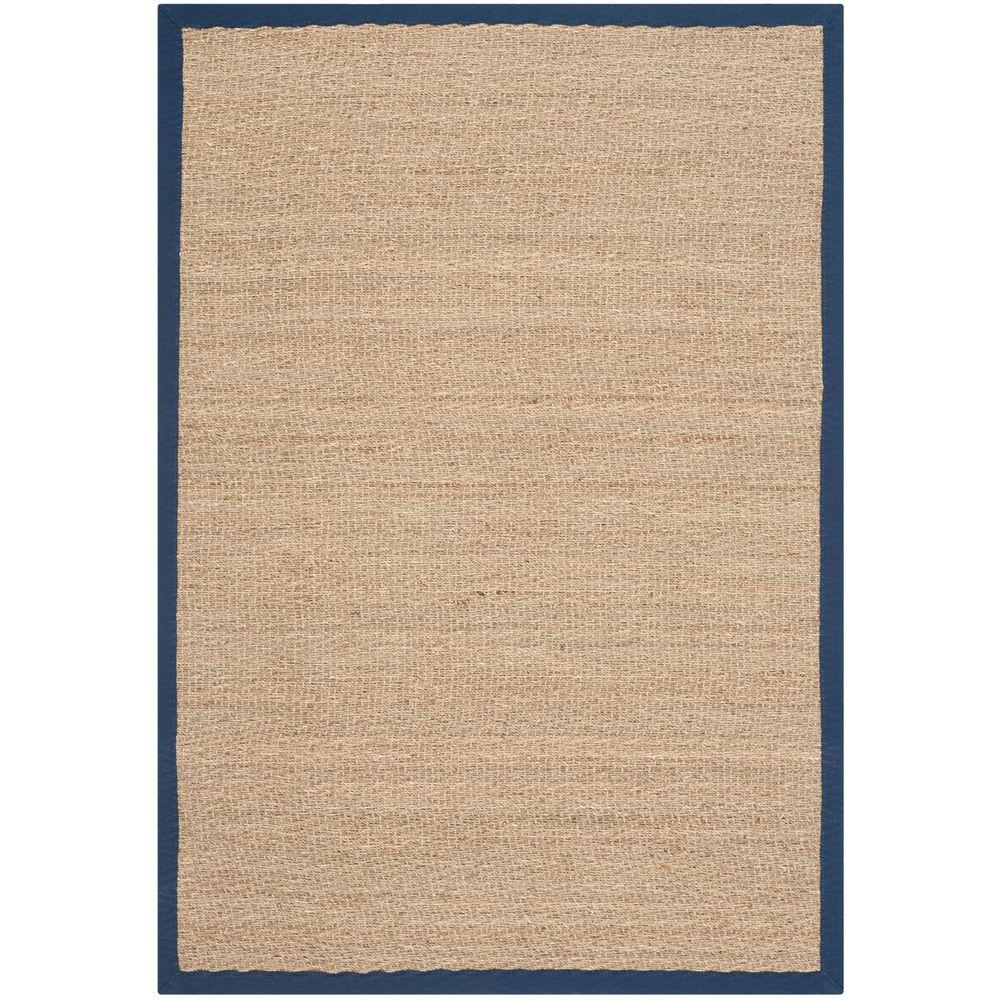 Natural Fiber Beige/Blue 4 ft. x 6 ft. Area Rug